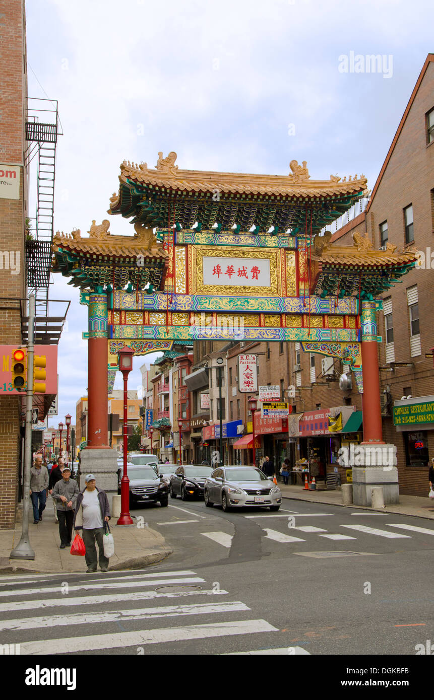 Chinese Gate With Arch Marking The Entrance To Chinatown In