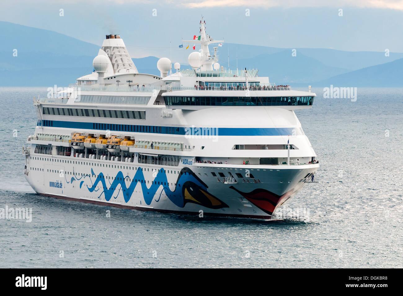 AIDAaura cruise ship. Cruising the Mediterranean Sea, Europe - Stock Image