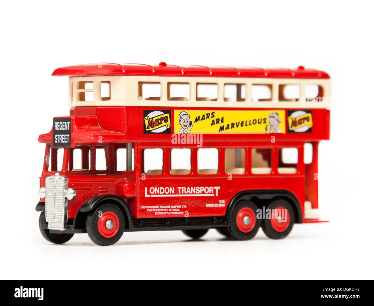 Matchbox diecast replica of London Transport double decker bus (Regent Street, with Mars advertising on the side) - Stock Image
