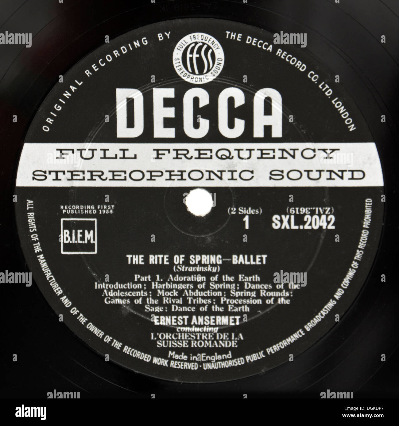 'The Rite of Spring' vinyl record by Stravinsky, the rare original first stereo pressing from 1958 (Decca SXL 2042, ED1 version) - Stock Image