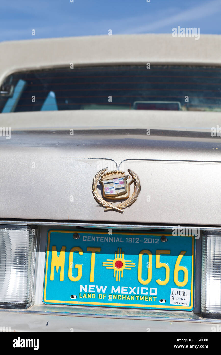 Classic cadillac car with New Mexico number plates. - Stock Image