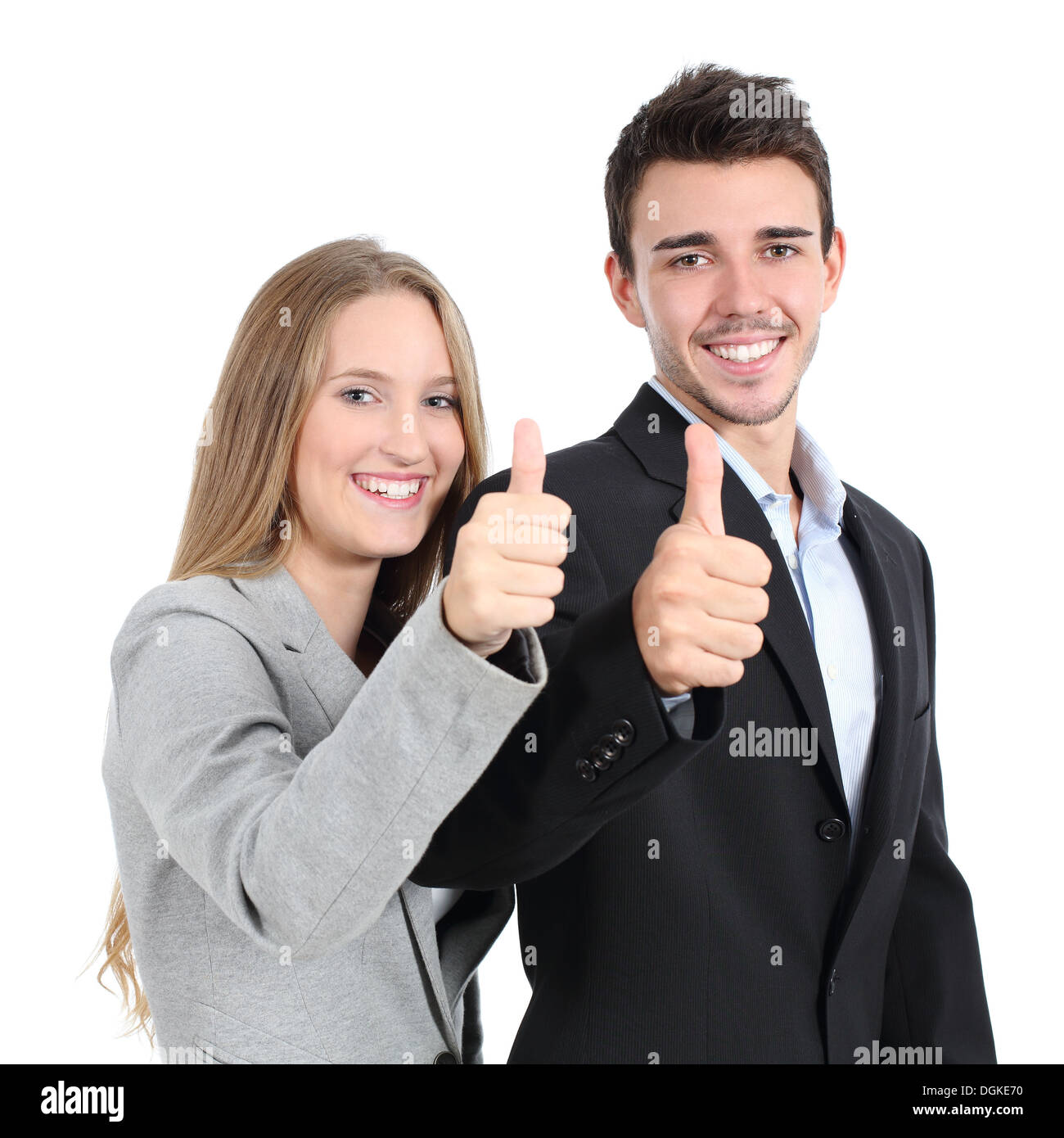 Two businesspeople agreement with thumb up isolated on a white background - Stock Image
