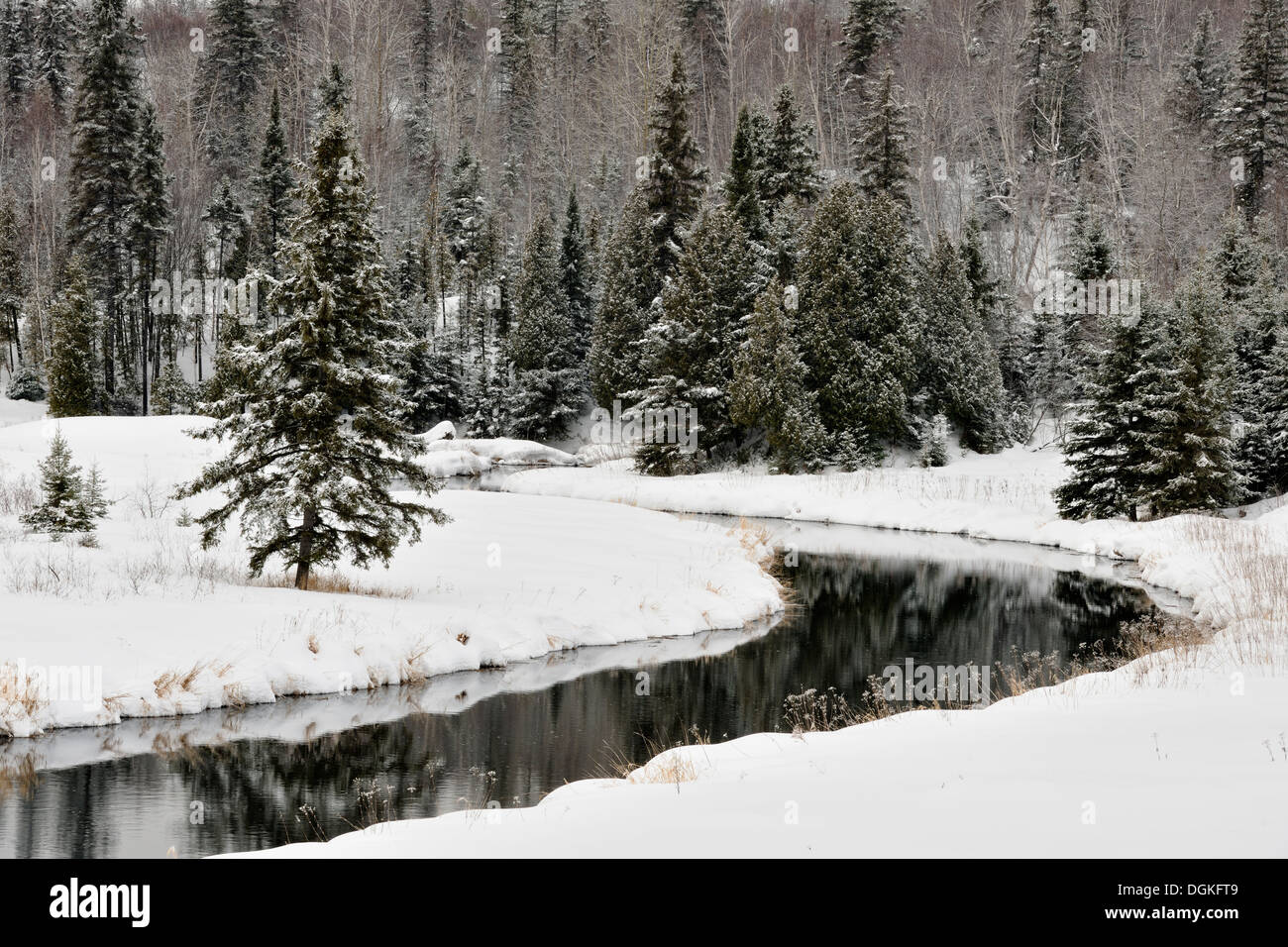 Open water of Junction Creek in early winter with a dusting of fresh snow Greater Sudbury Ontario Canada - Stock Image
