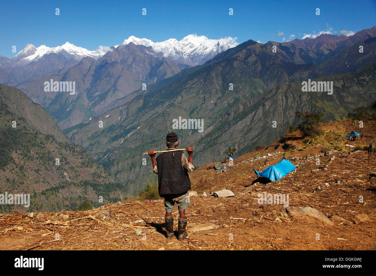 A view over Ganesh Himal and the Himalayas. - Stock Image
