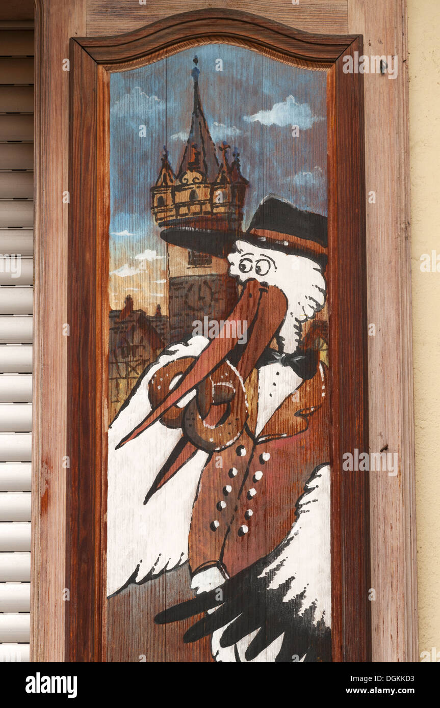 Elk213-1679v France, Alsace, Obernai, painted shutter - Stock Image
