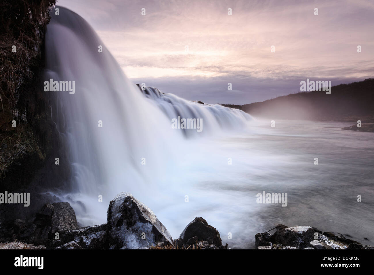 A view of the Faxifoss waterfall in southern Iceland. - Stock Image