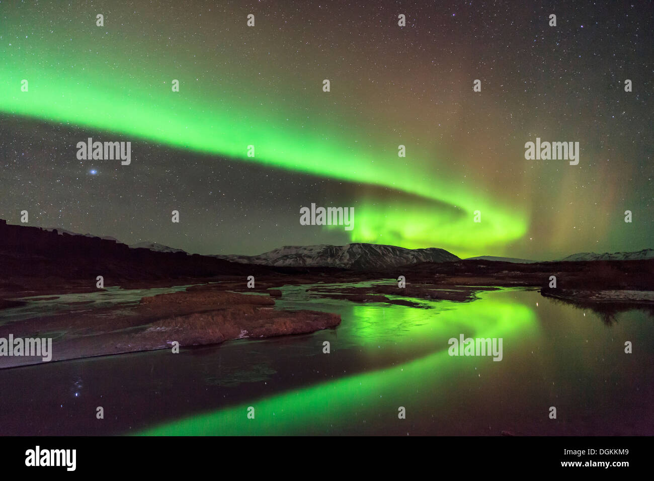 Aurora borealis over Lake Thingvallavatn in Thingvellir National Park in Iceland. - Stock Image