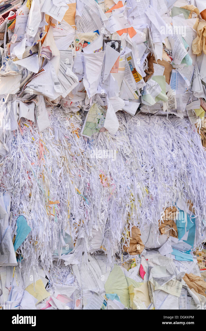 Bale of paper at the recycling collection facility in Enterprise, Oregon. - Stock Image