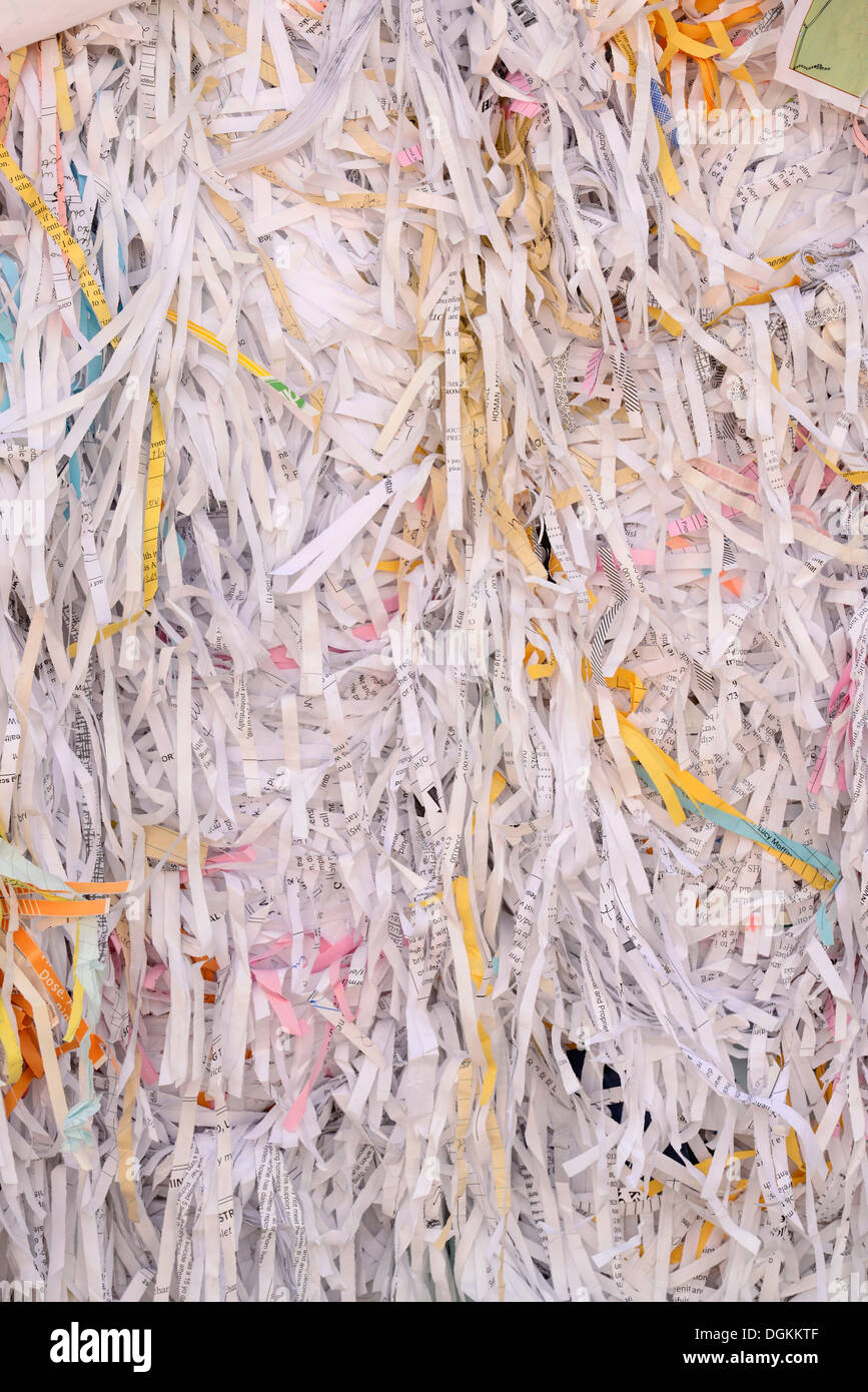 Bale of shredded paper at the recycling collection facility in Enterprise, Oregon. - Stock Image