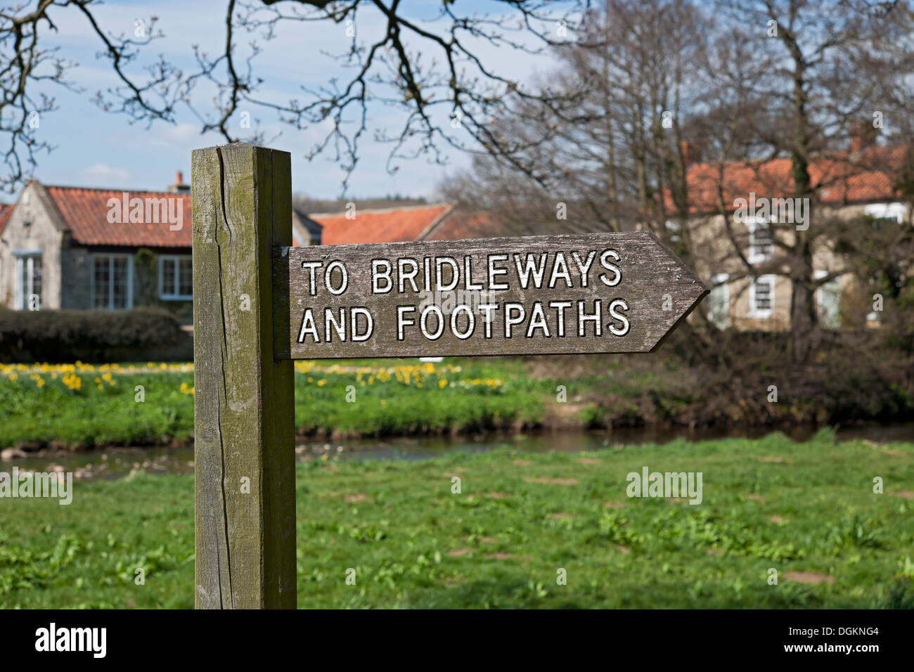 Wooden signpost pointing to bridleways and footpaths. - Stock Image