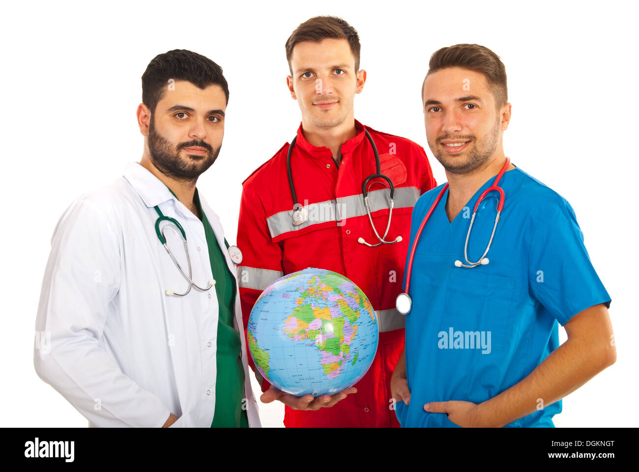 Different doctors males holding world globe isolated on white background - Stock Image