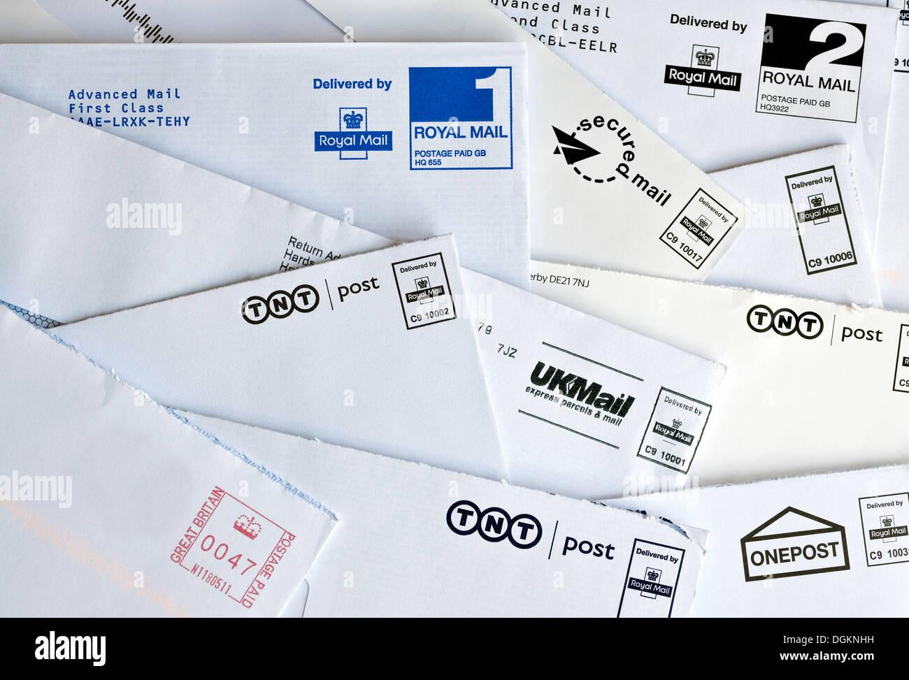 Opened UK mail envelopes. - Stock Image