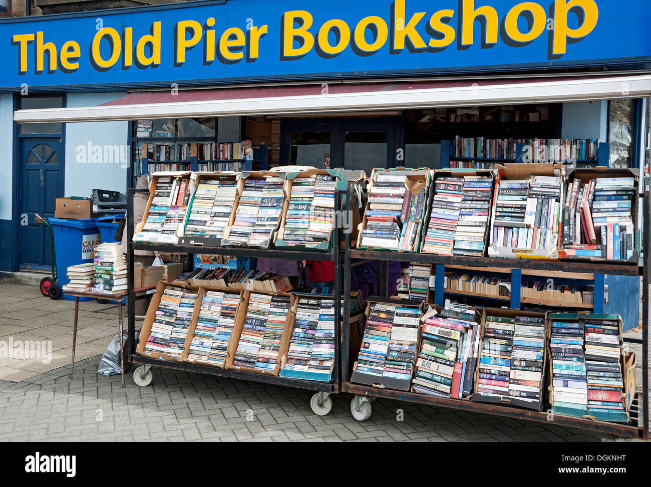 Racks of books outside a secondhand bookshop in Morecambe. Stock Photo