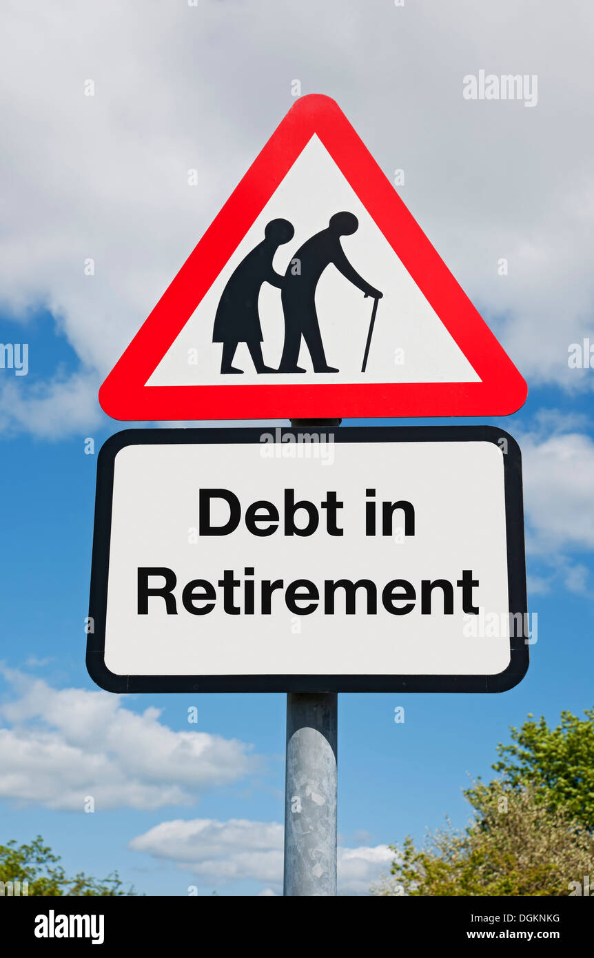 A debt in retirement warning sign. - Stock Image
