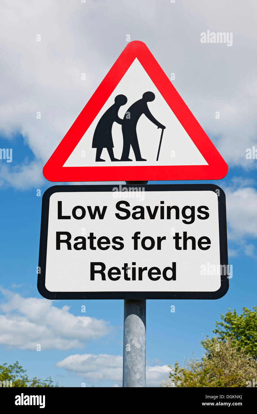 Low savings rates for the retired warning sign. - Stock Image