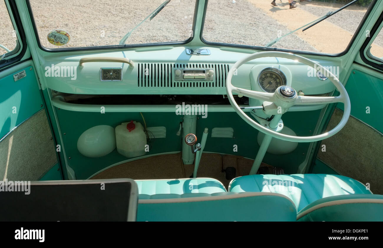 Inside a vehicle on display at the Dubs At The Hall VW festival. - Stock Image