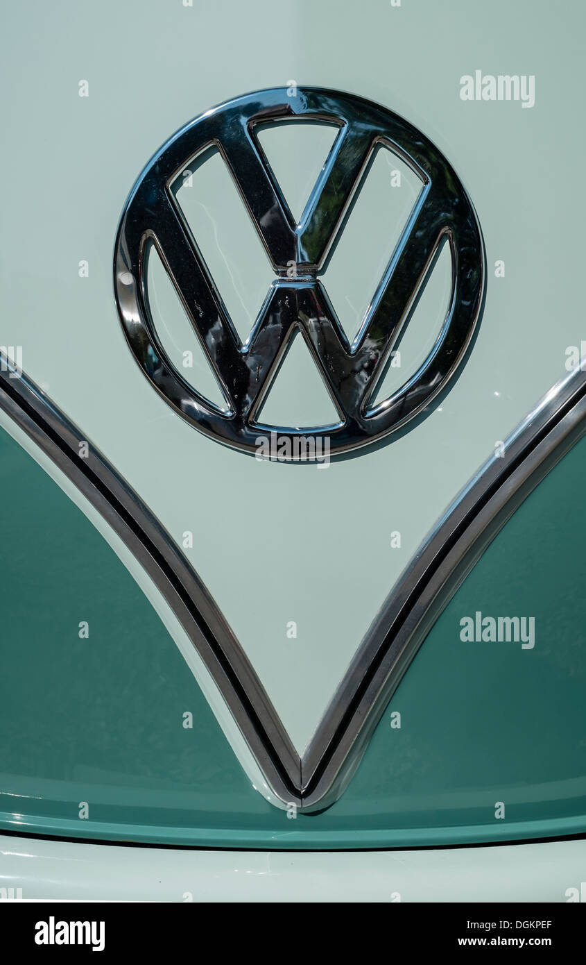 The Volkswagen logo on a vehicle at the Dubs At The Hall VW festival. - Stock Image