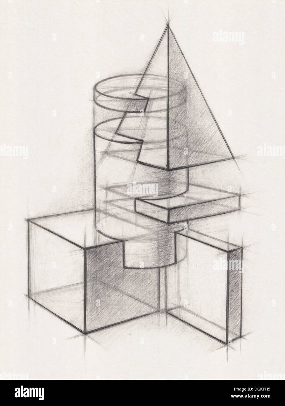 Illustration of geometric shapes it is a pencil drawing stock photo