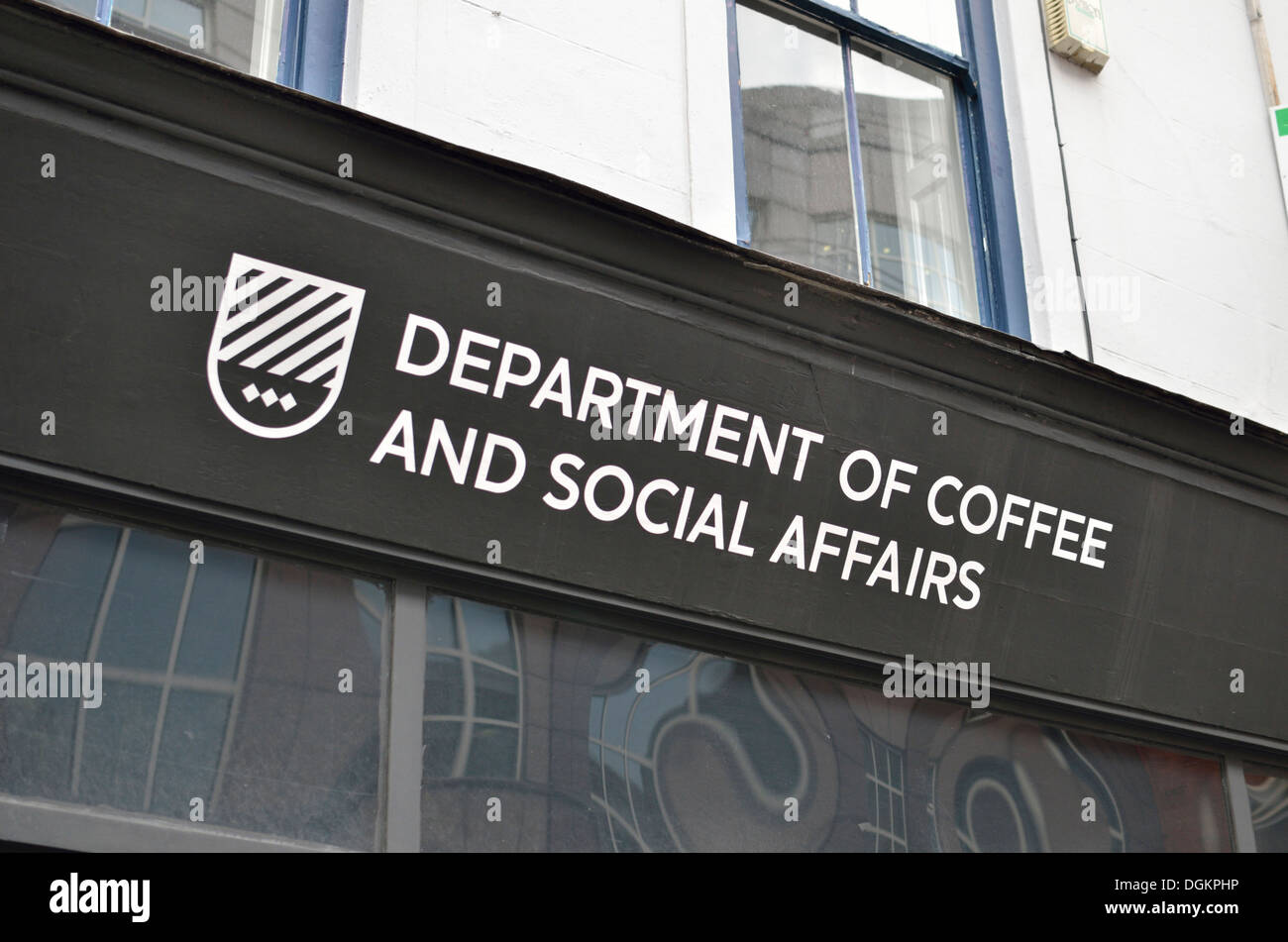 Department of Coffee and Social Affairs coffee house on Leather Lane. Stock Photo