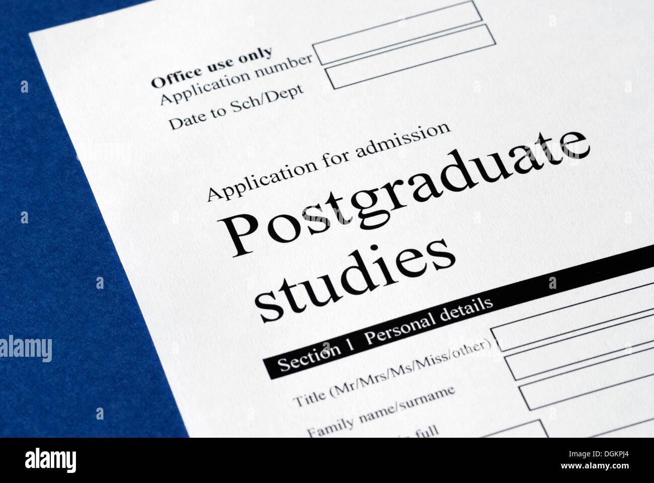 Postgraduate studies application form. - Stock Image