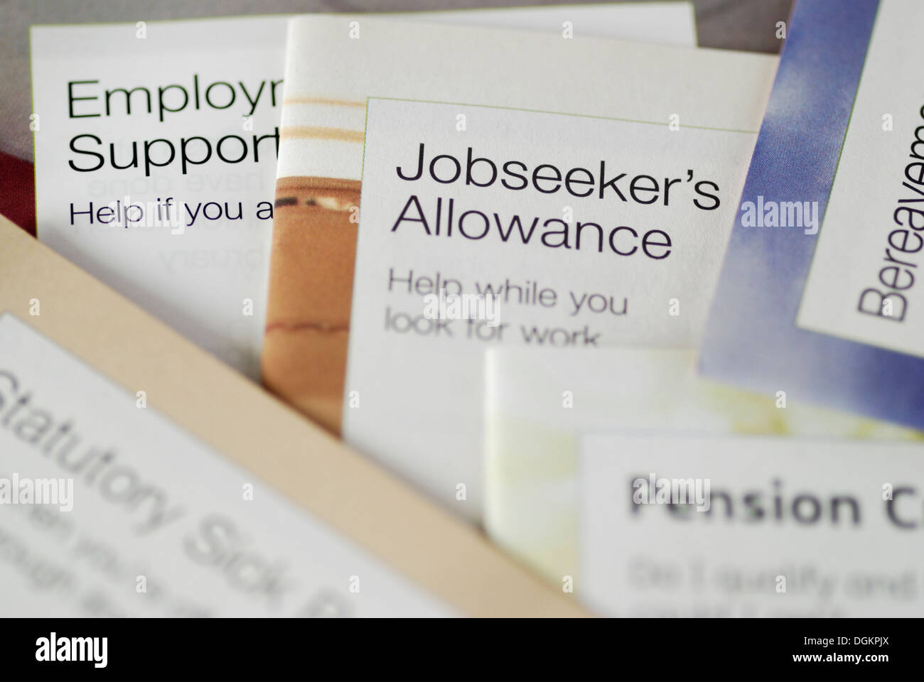 Leaflets about UK government benefits and allowances. - Stock Image