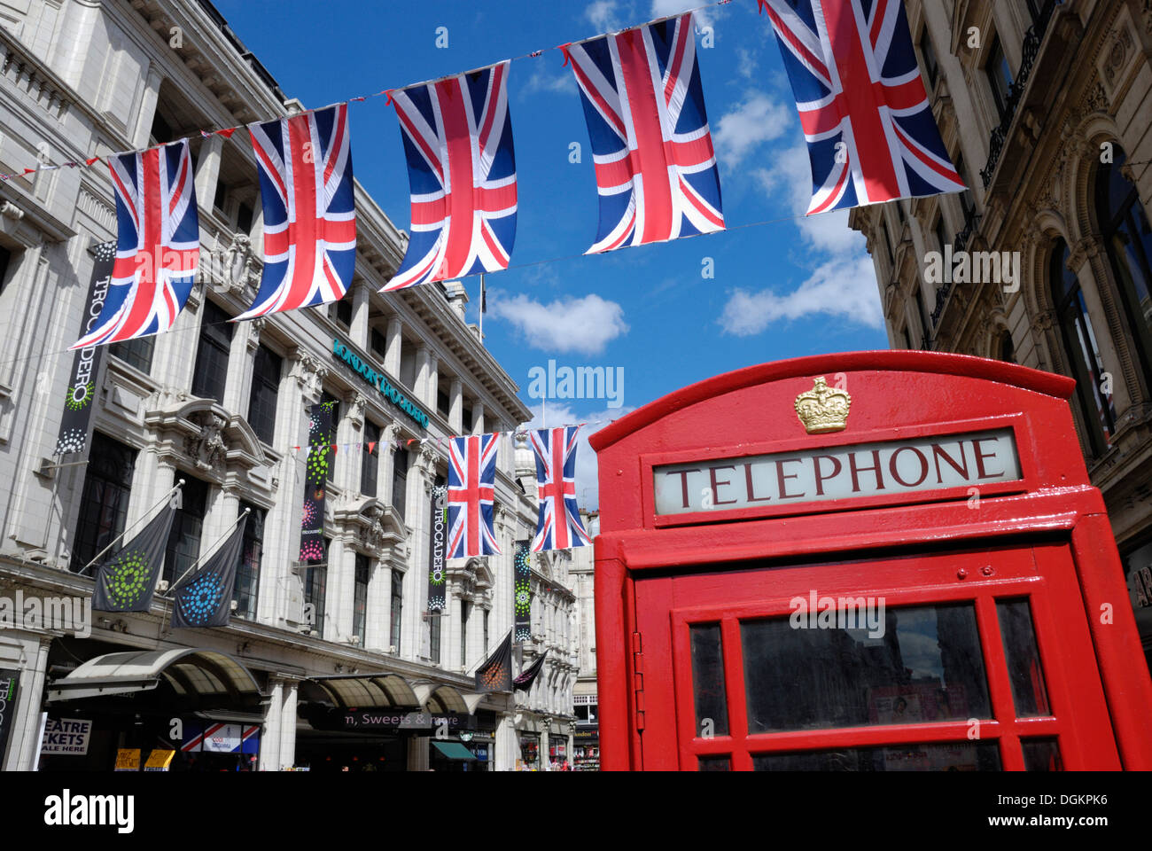 Union Jack flags and red telephone box near the Trocadero. - Stock Image