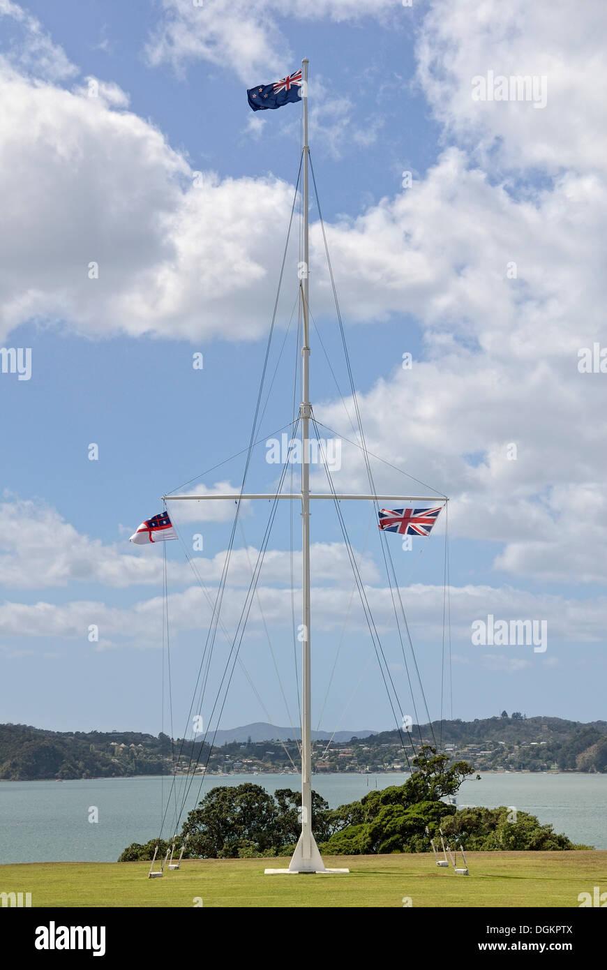 Flagpole, Waitangi Treaty Grounds, Waitangi, North Island, New Zealand - Stock Image