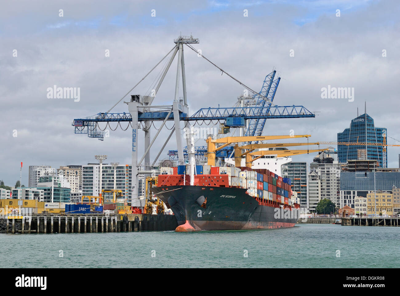 Container port, Auckland, North Island, New Zealand - Stock Image