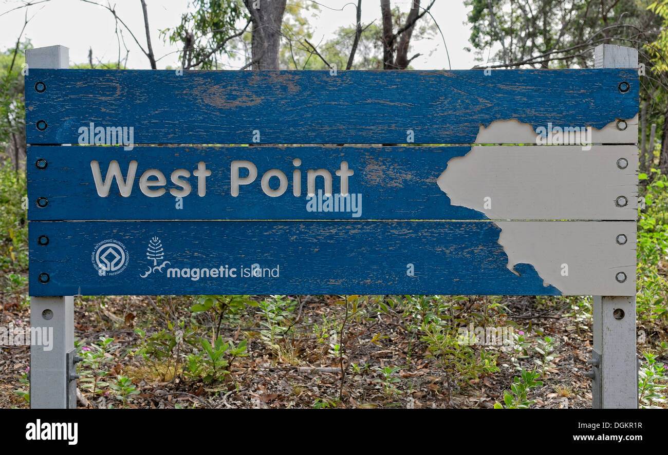 West Point, sign at the westernmost point of Magnetic Island, Queensland, Australia - Stock Image