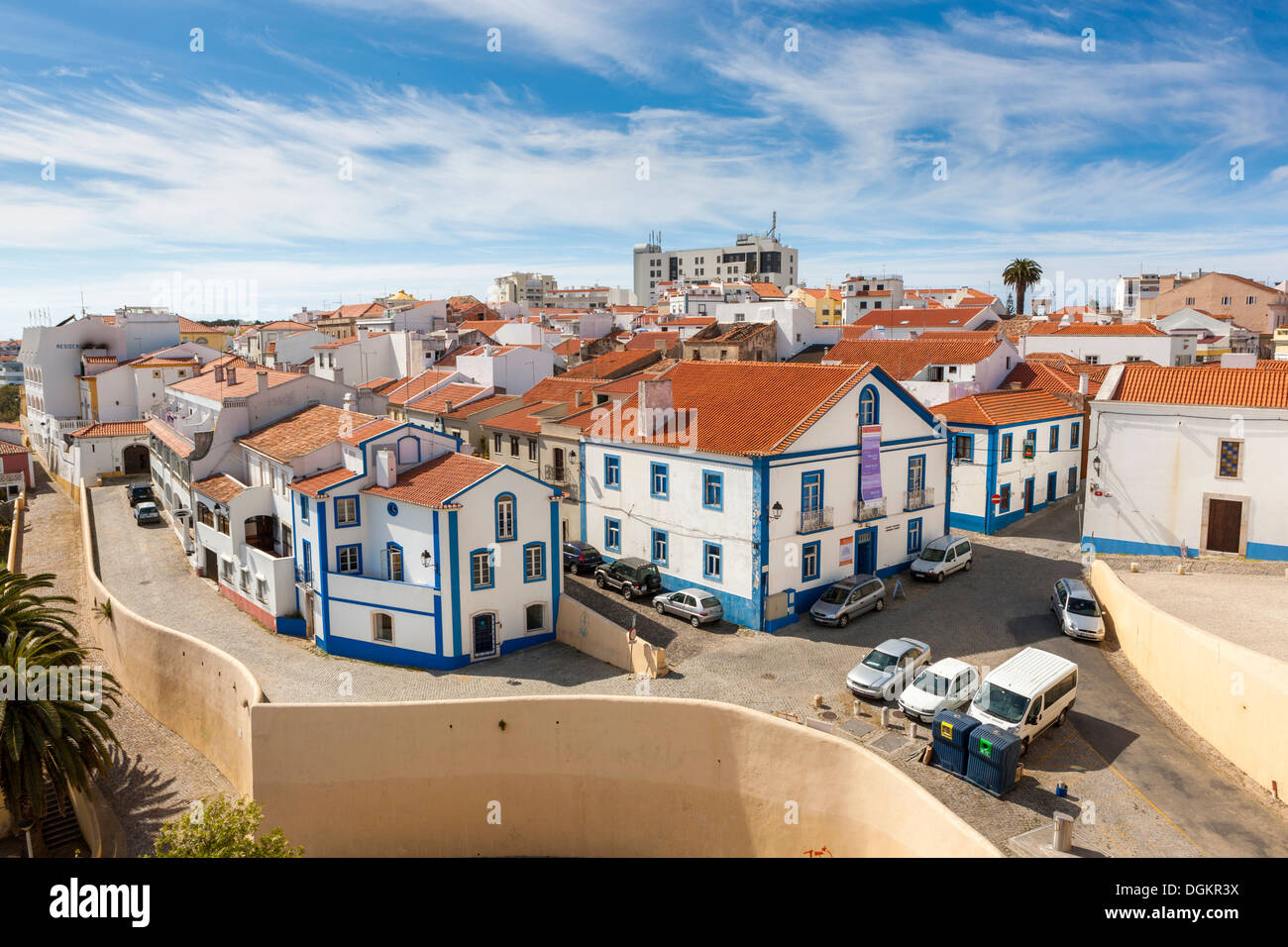 The old quarter of Sines showing an example of the older architecture. - Stock Image
