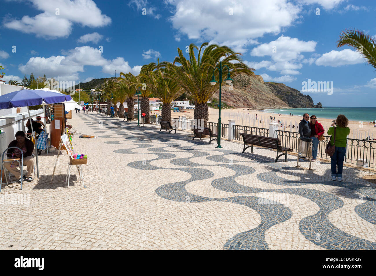Beach promenade at Praia da Luz. - Stock Image