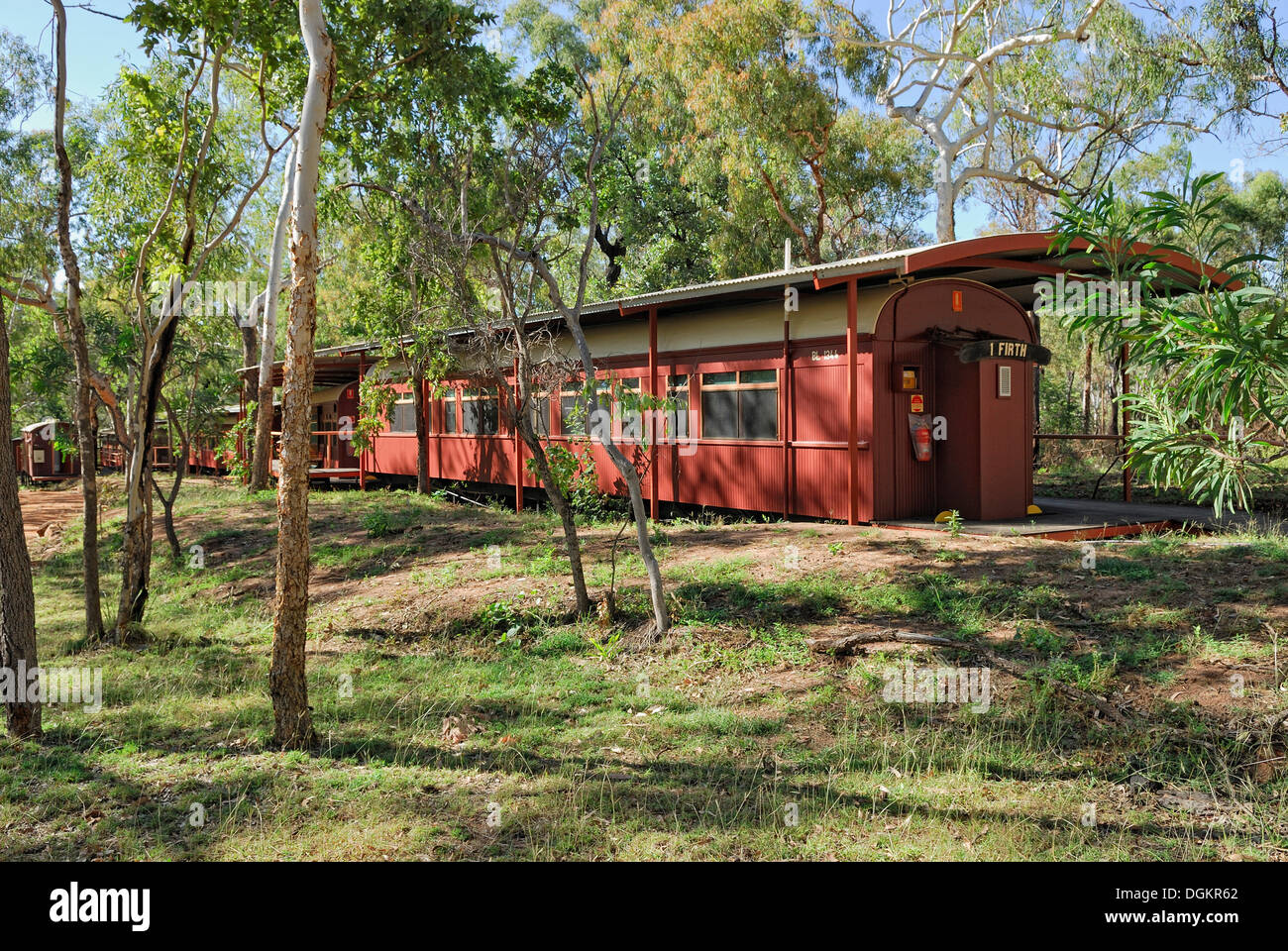 Outback hotel in disused railway wagons, Railway Carriages Accommodation, Undara Volcanic National Park, Undara, Queensland - Stock Image