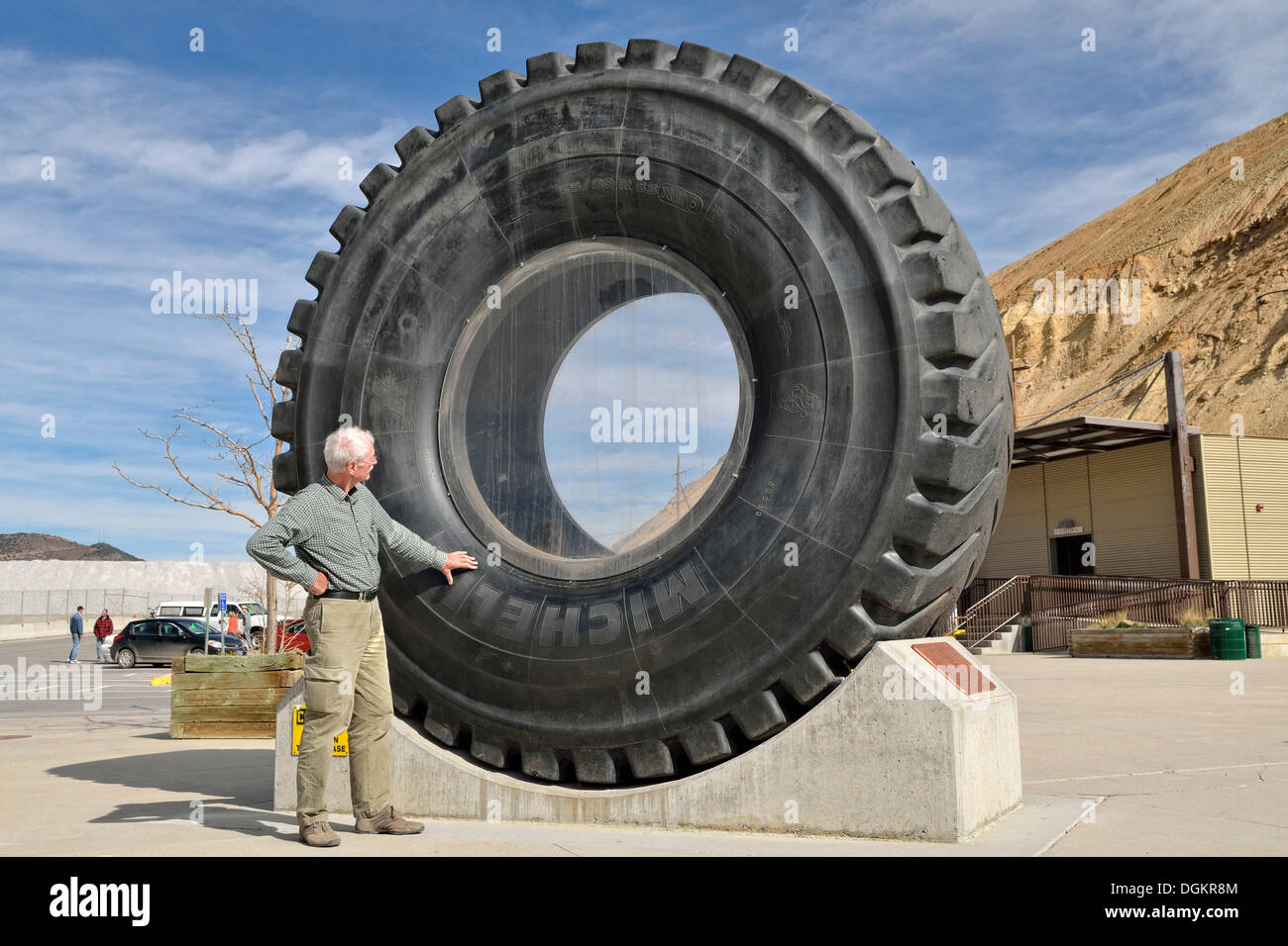 Giant tyre of a haul truck, tyre for heavy trucks and mining vehicles, visitor centre, Kennecott Utah Copper's Bingham Canyon - Stock Image