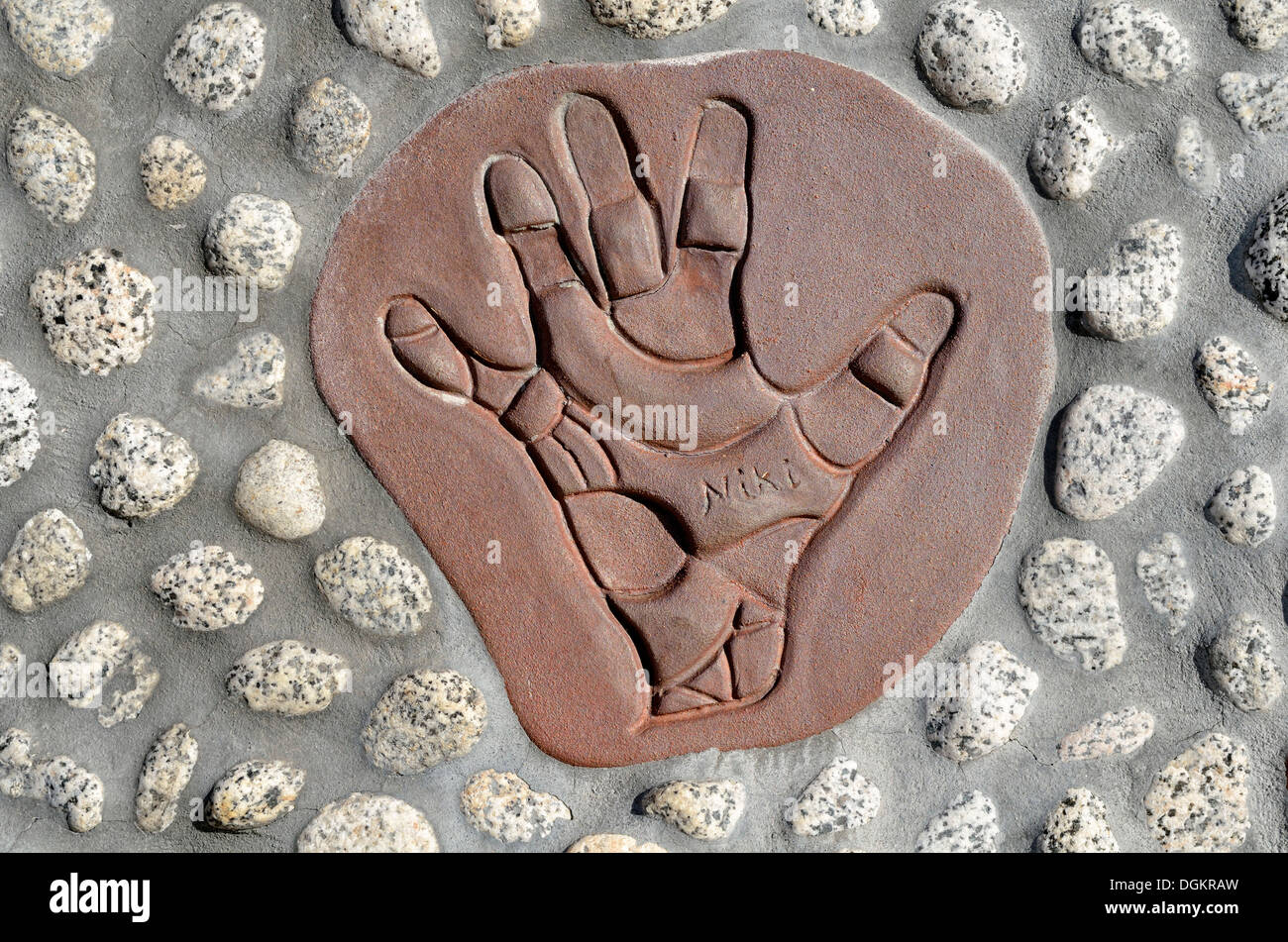 Handprint as a signature of the art work, Queen Califa's Magical Circle, late work of French sculptor Niki de Saint Phalle - Stock Image