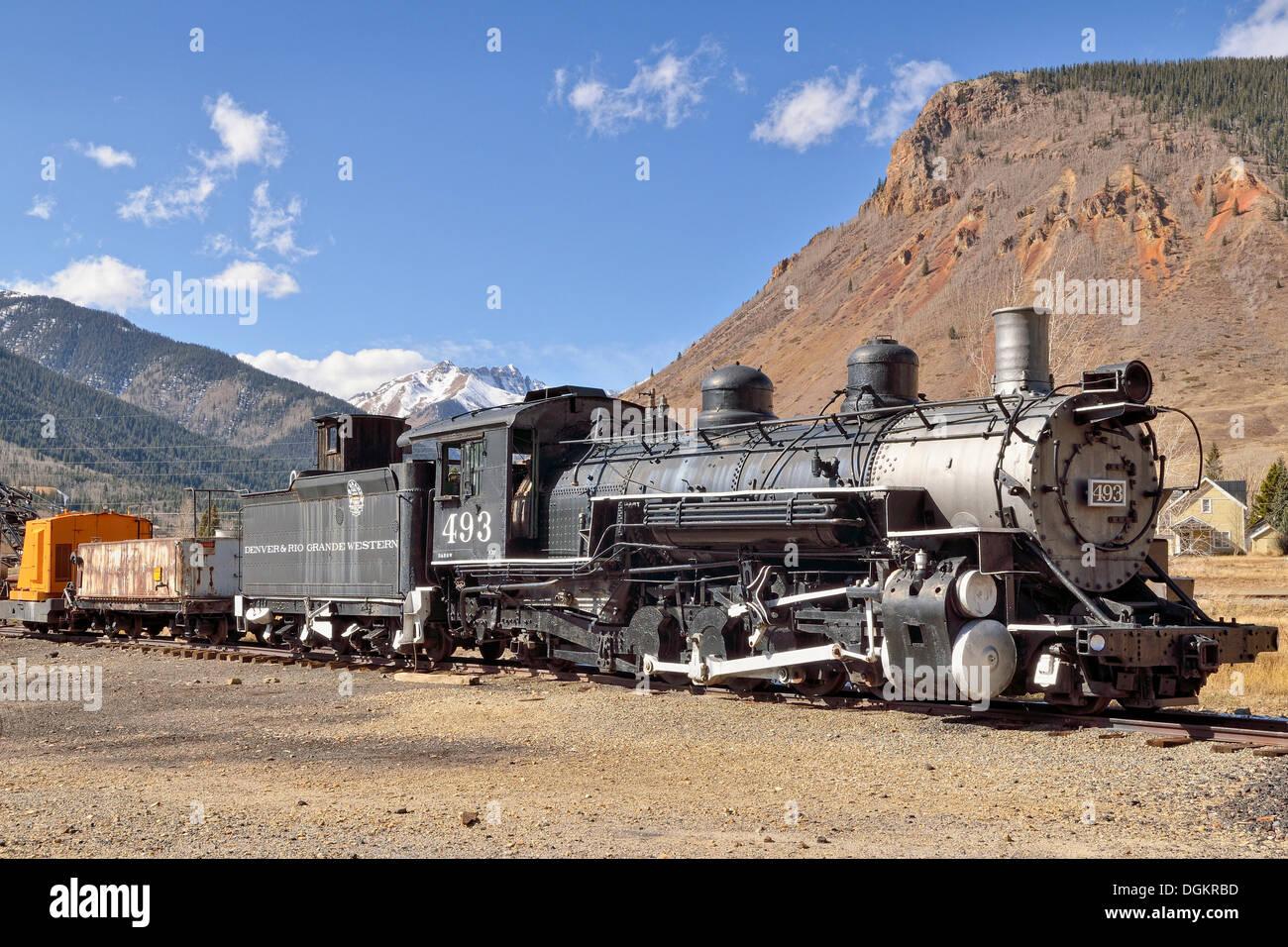 Historic train with a steam locomotive, Denver & Rio Grande Western Railroad Company, silver mining town of Silverton, Colorado - Stock Image