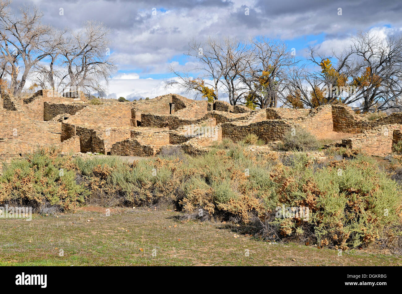 Ruins of the historic Anasazi settlement, partial view, Aztec Ruins National Monument, Aztec, New Mexico, USA - Stock Image