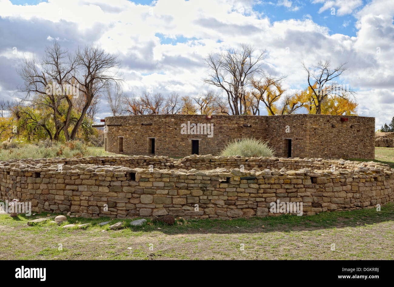 Great Kiva, historic Anasazi settlement, Aztec Ruins National Monument, Aztec, New Mexico, USA - Stock Image