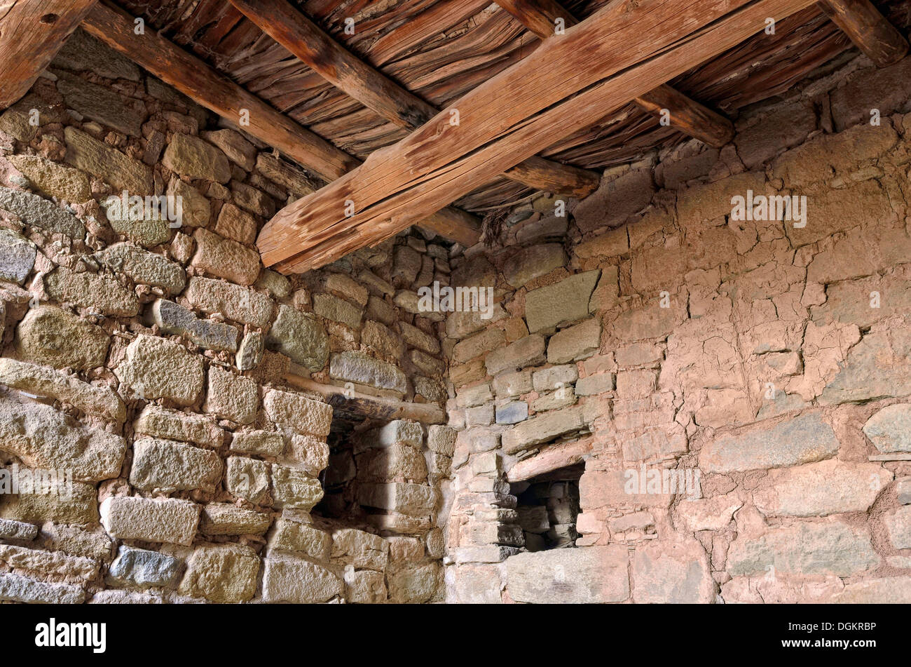 Walls and ceiling, detail, historic Anasazi settlement, Aztec Ruins National Monument, Aztec, New Mexico, USA - Stock Image