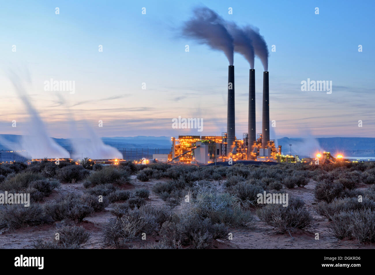 Coal power plant, Navajo Generating Station, in the evening, Navajo Nation Reservation, Page, Arizona, United States Stock Photo