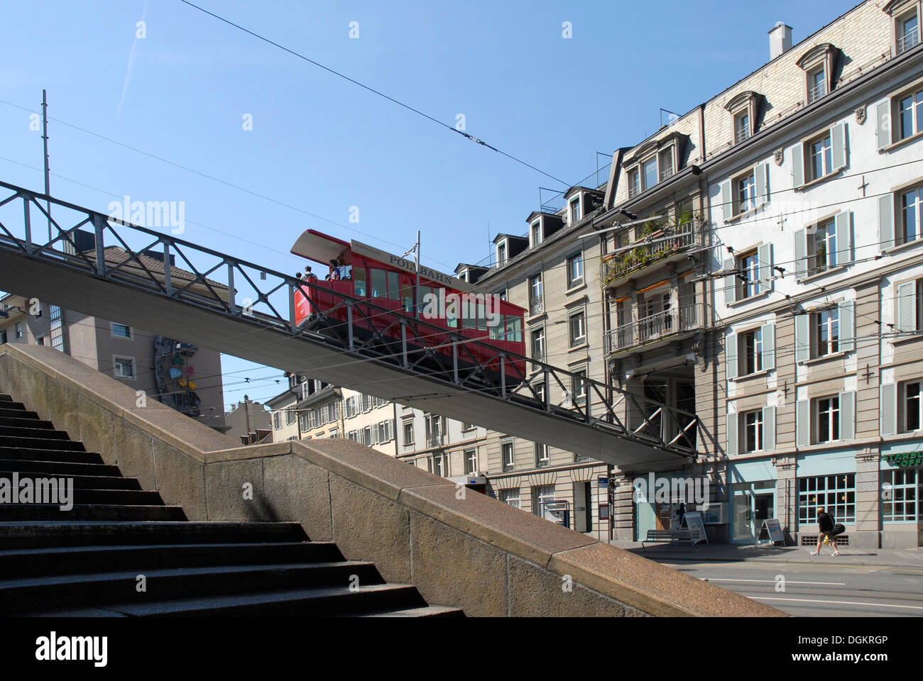 Polybahn, funicular railway, Zurich, Switzerland, Europe - Stock Image