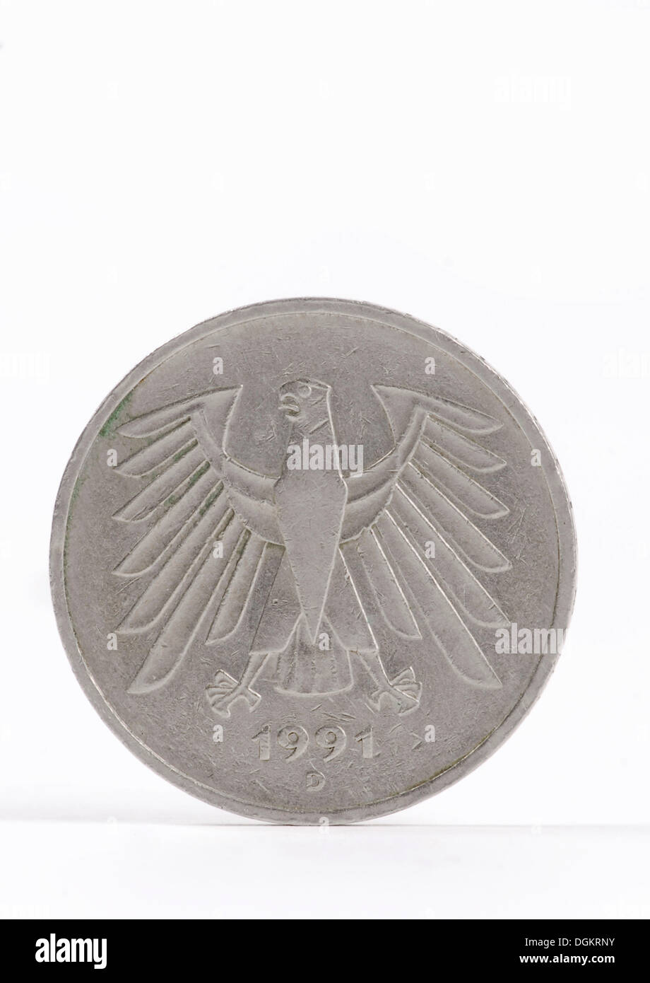 5 German Mark, coin with Federal Eagle - Stock Image