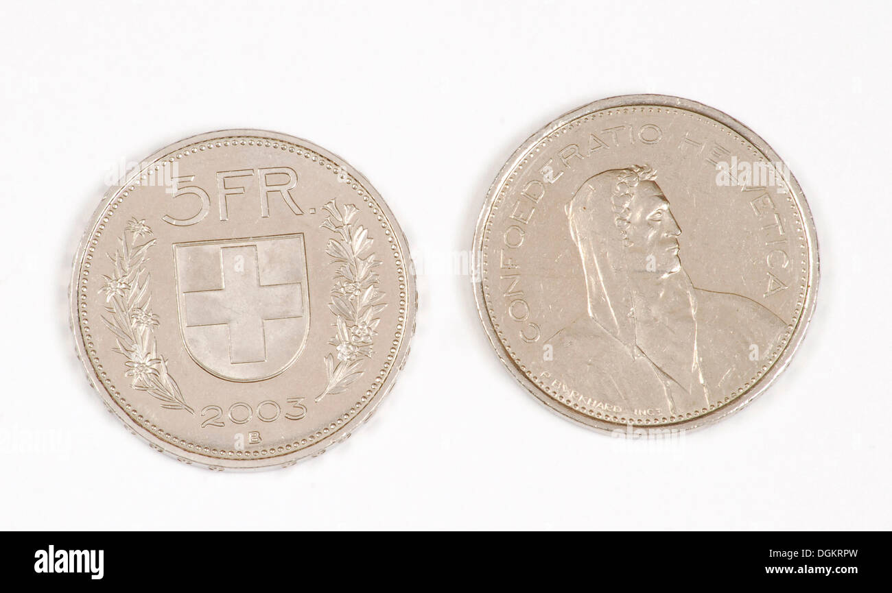 Swiss 5 francs coins with folk hero William Tell, front and back - Stock Image