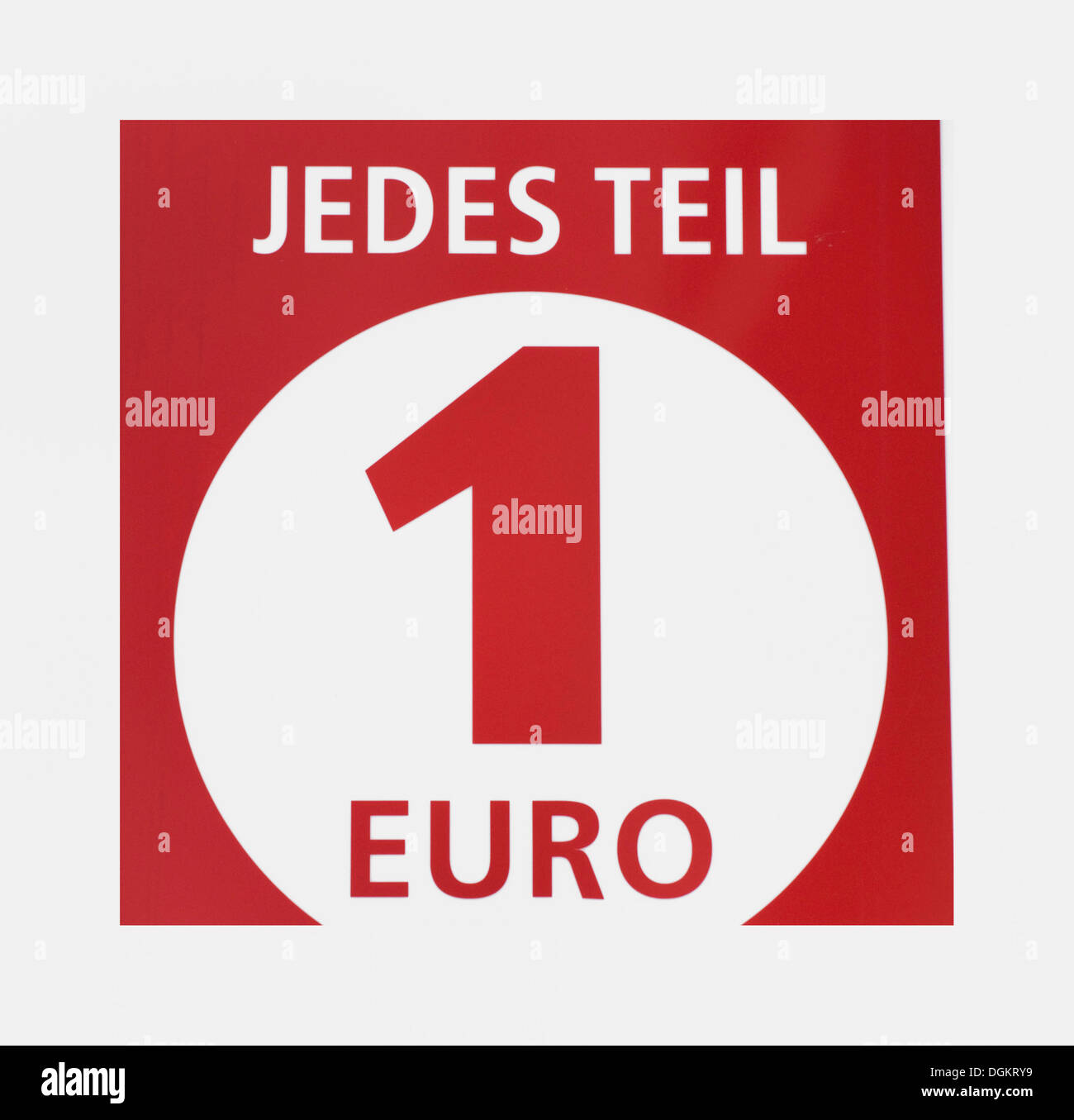 Jedes Teil 1 Euro, German for: every item 1 Euro, euro shop, discount - Stock Image