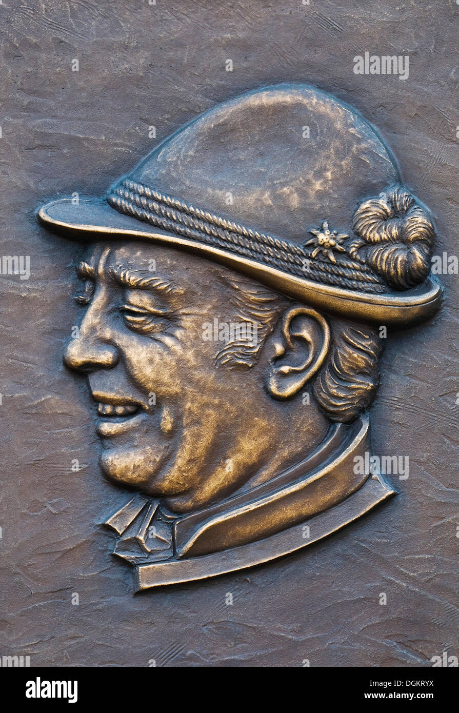 Relief plate, detail, portrait of Hans Clarin - Stock Image