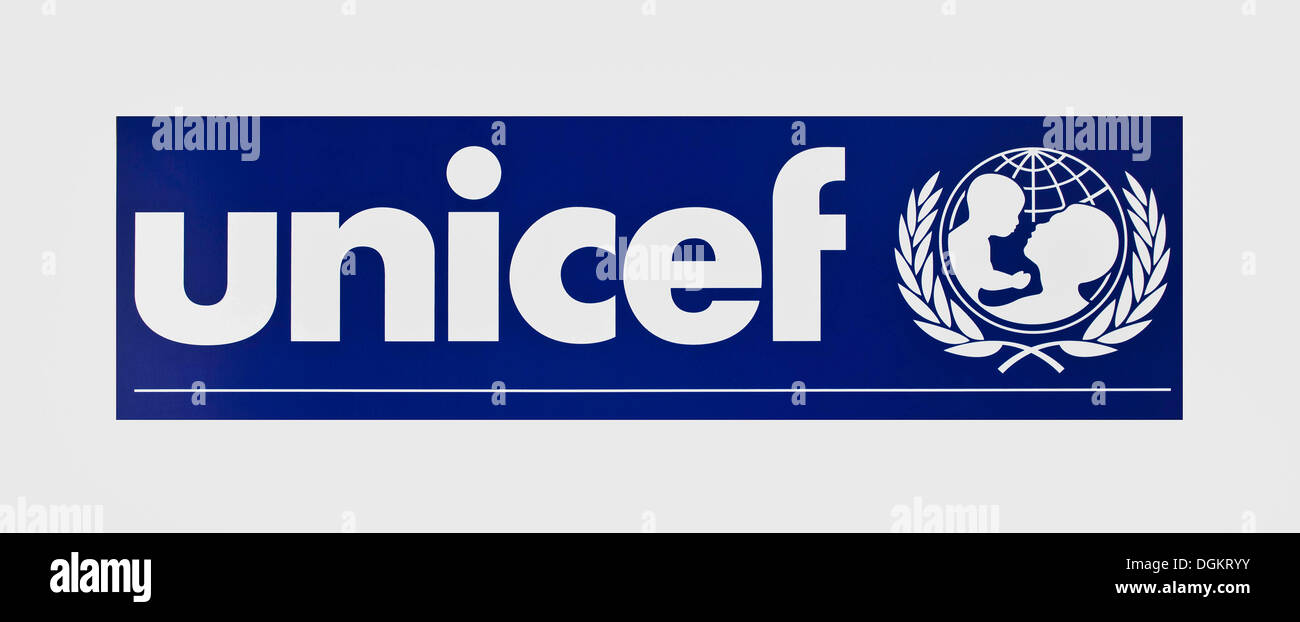 UNICEF United Nations Children's Fund, lettering and logo - Stock Image