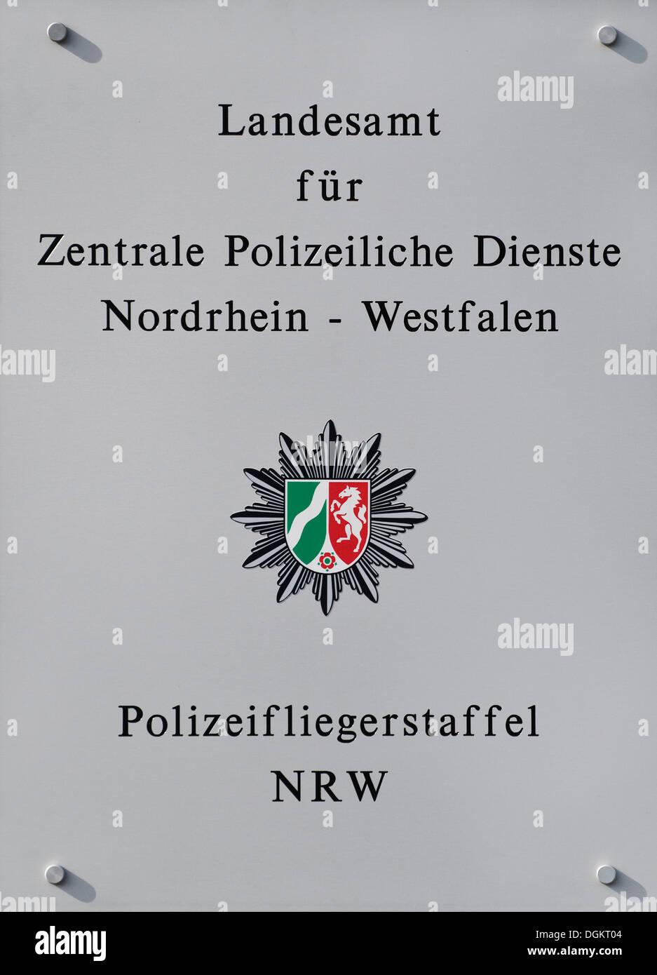 Sign 'Landesamt fuer Zentrale Polizeiliche Dienste Nordrhein-Westfalen, Polizeifliegerstaffel NRW', German for 'State Office for - Stock Image