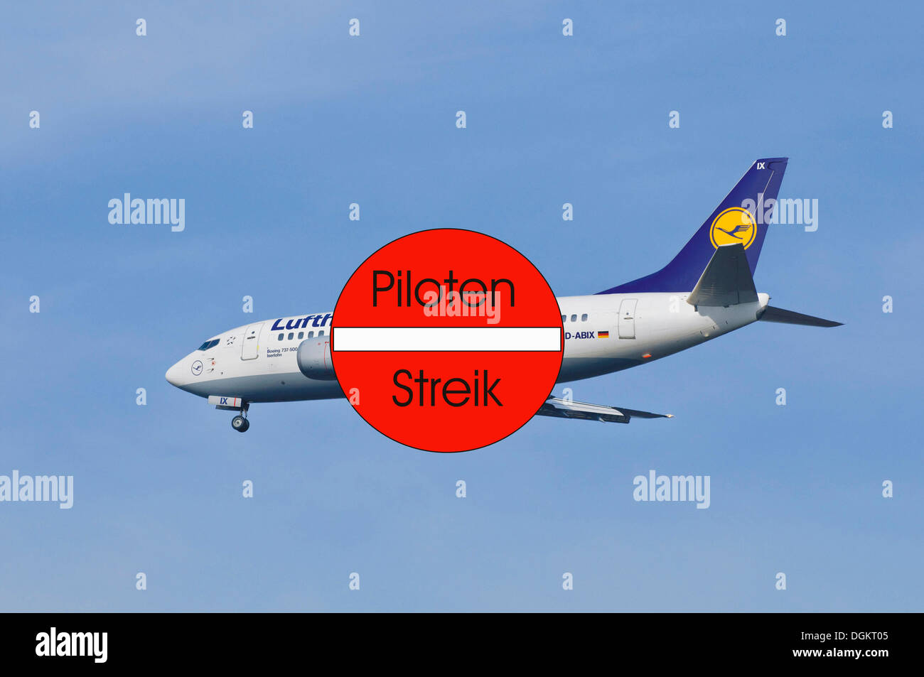 Pilots strike at Lufthansa airlines, industrial action, symbolic image - Stock Image