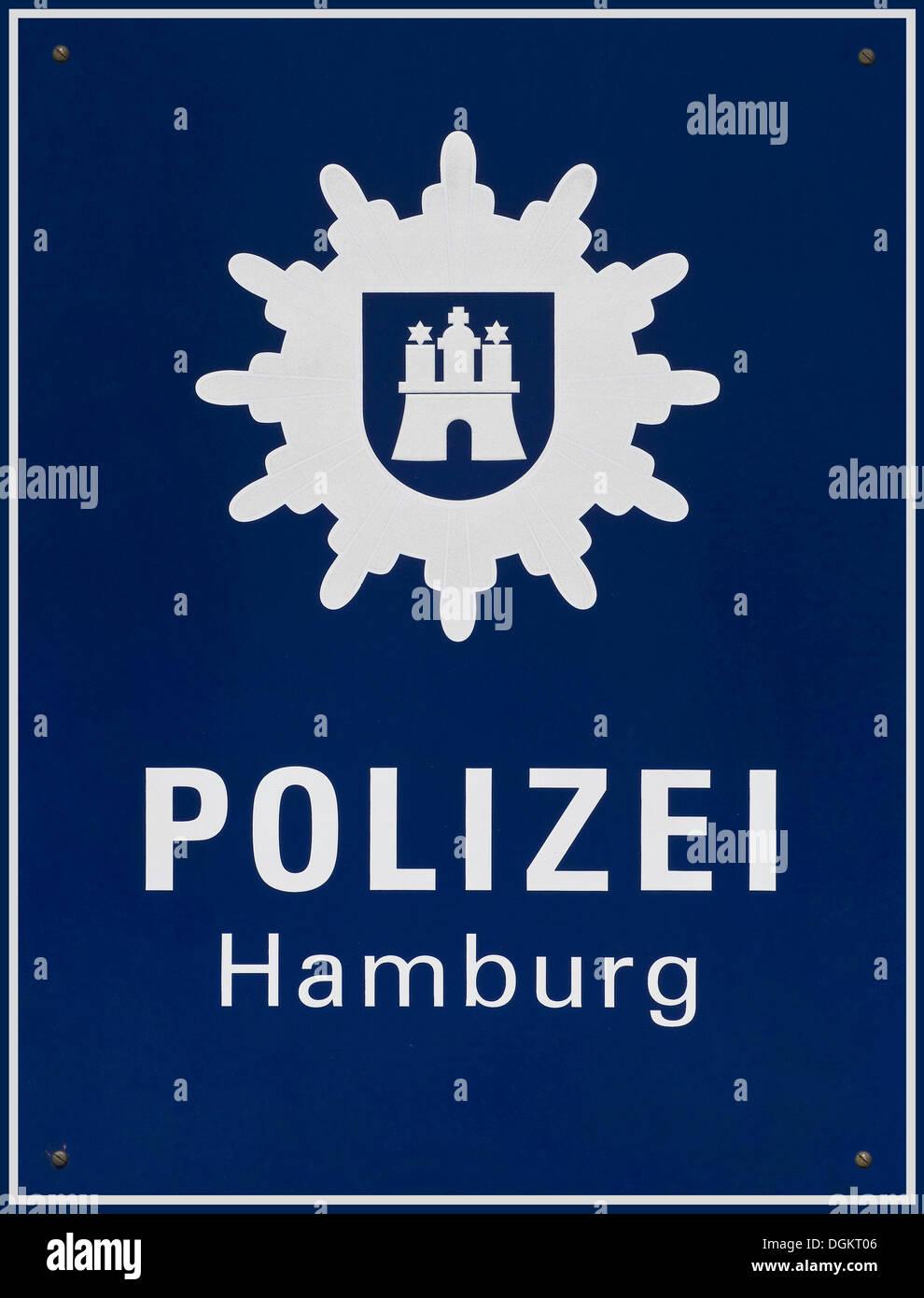 Sign, Polizei Hamburg, Hamburg Police, with emblem - Stock Image