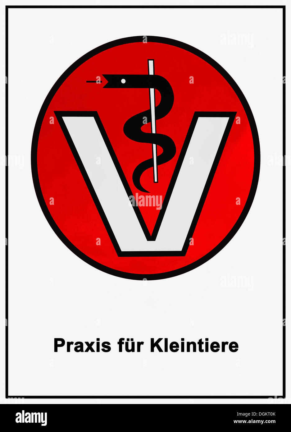 Veterinary sign, serpent-entwined staff of Aesculapius above the letter V, labelled Praxis fuer Kleintiere - Stock Image