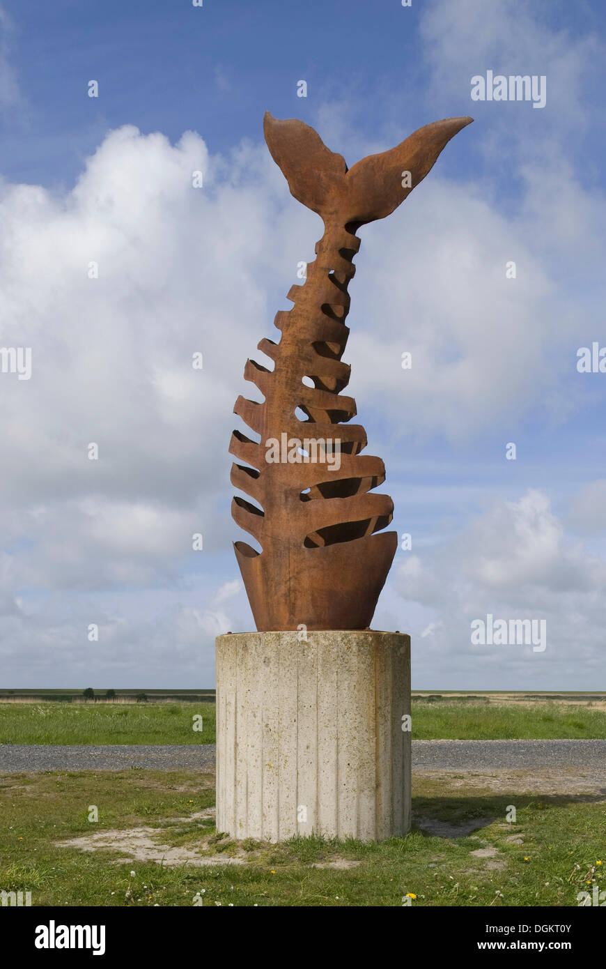 Sculpture fish bone, left side of the harbor, Greetsiel, Krummhoern, East Frisia, Lower Saxony - Stock Image